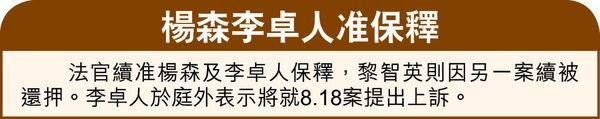 涉8.31非法集會 黎智英楊森李卓人認罪 押後與8.18案同日判刑