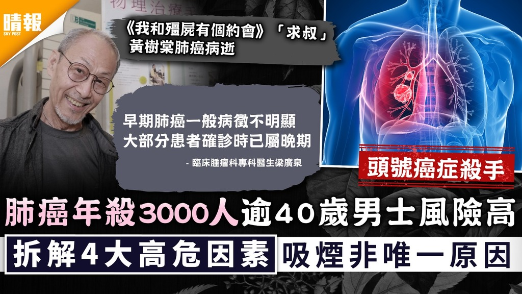 黃樹棠病逝|肺癌年殺3000人逾40歲男士風險高 拆解4大高危因素吸煙非唯一原因
