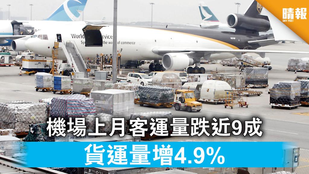 新冠肺炎|機場上月客運量跌近9成 貨運量增4.9%