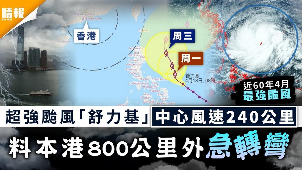 天文台|超強颱風舒力基中心風速240公里 料本港800公里外急轉彎