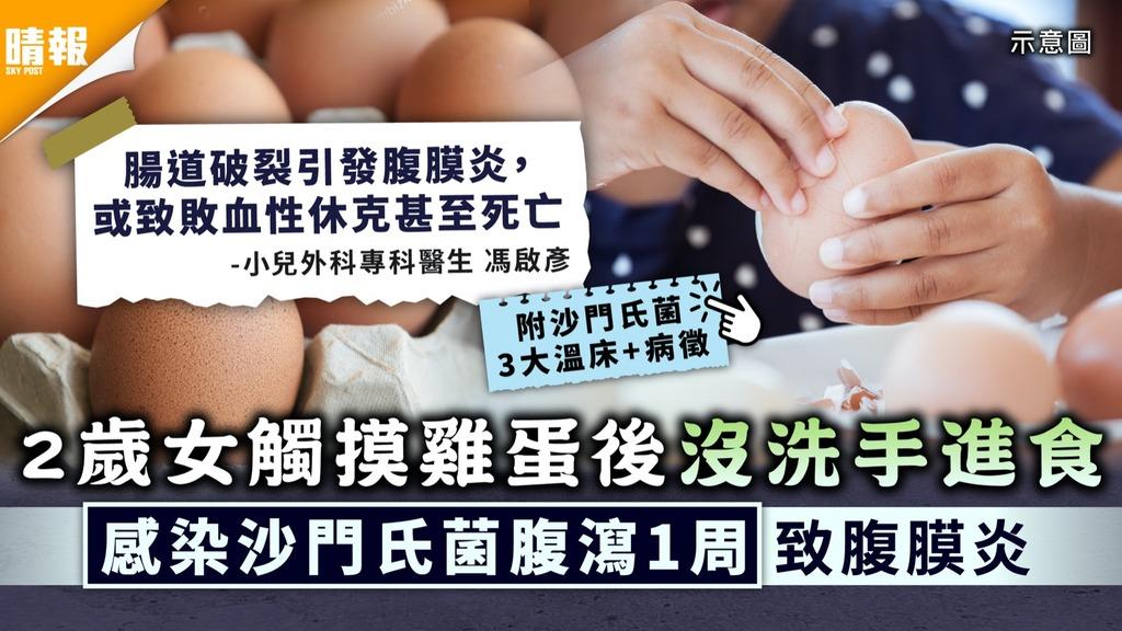 食用安全|2歲女觸摸雞蛋後沒洗手進食 感染沙門氏菌腹瀉1周致腹膜炎