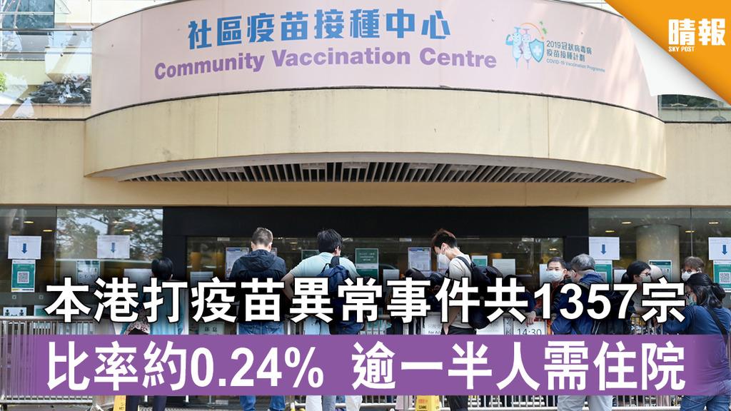 新冠疫苗|本港打疫苗異常事件共1357宗 比率約0.24% 逾一半人需住院