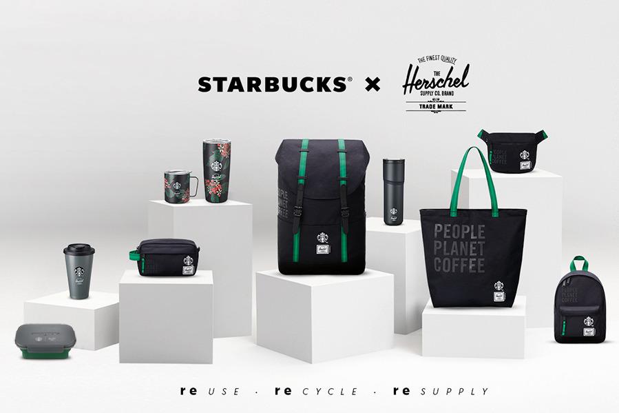【Starbucks】香港星巴克Starbucks聯乘Herschel Supply Co.推出限量版環保系列商品 咖啡渣循環再造塑膠隨行杯/Herschel背包