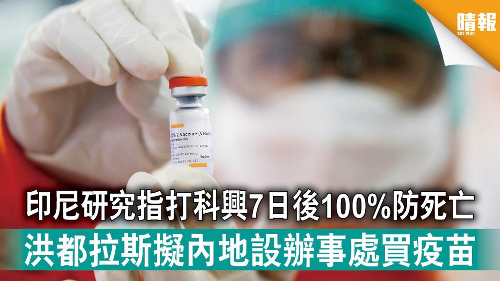 新冠疫苗|印尼研究指打科興7日後100%防死亡 洪都拉斯擬內地設辦事處買疫苗