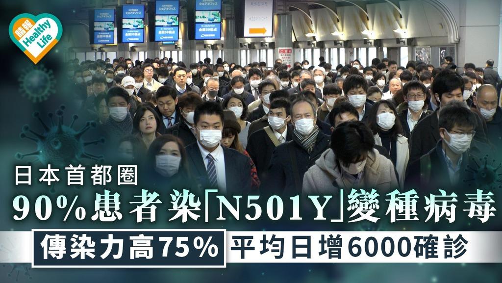 日本疫情|日本首都圈90%患者染「N501Y」變種病毒 傳染力高75%平均日增6000確診