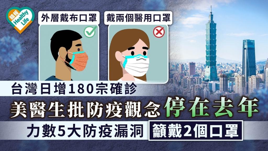 台灣日增180宗確診|美醫生批防疫觀念停在去年 力數5大防疫漏洞籲戴2個口罩