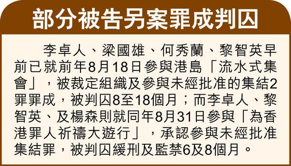 10.1非法集結 黎智英等10人認罪 警反對下 仍多次呼籲市民參與