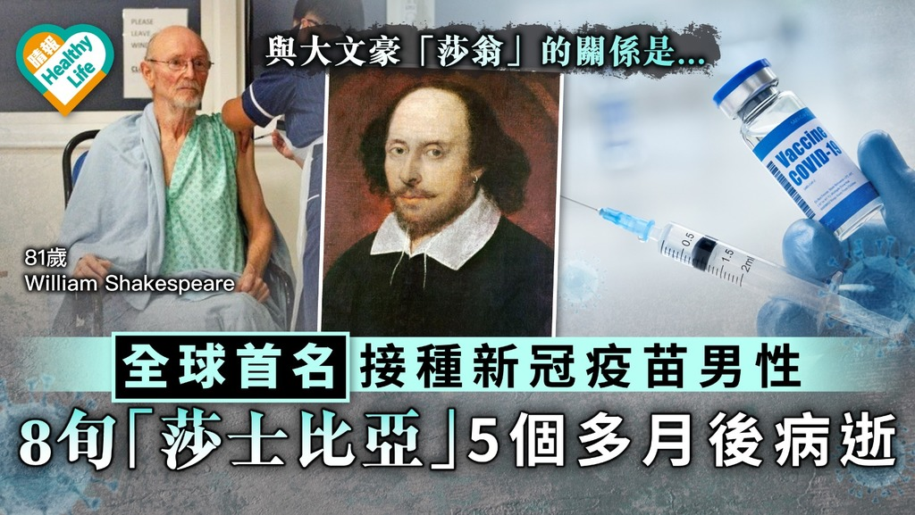 新冠疫苗|全球首名接種新冠疫苗男性 8旬「莎士比亞」5個多月後病逝