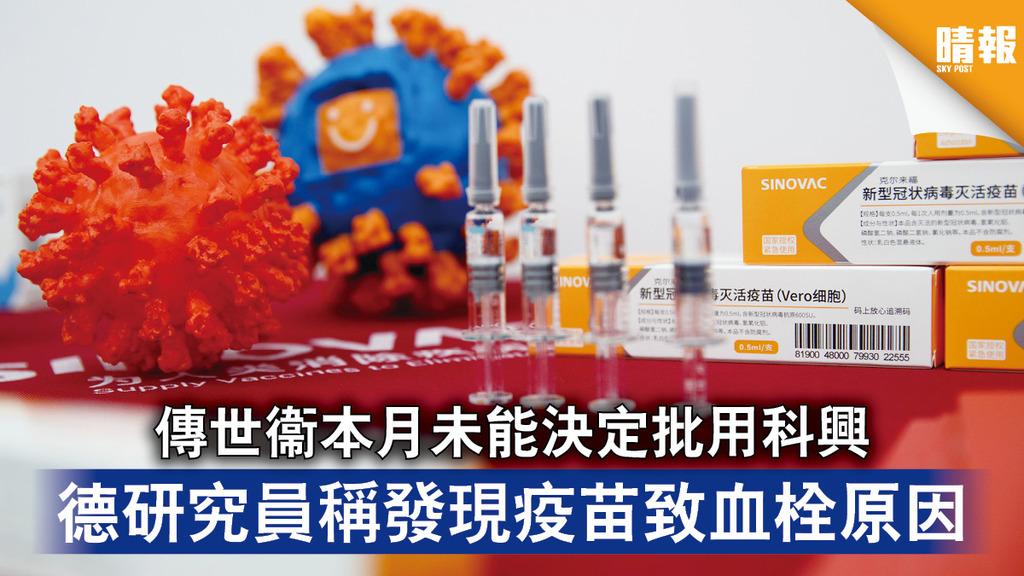 新冠疫苗|傳世衞本月未能決定批用科興 德研究員稱發現疫苗致血栓原因