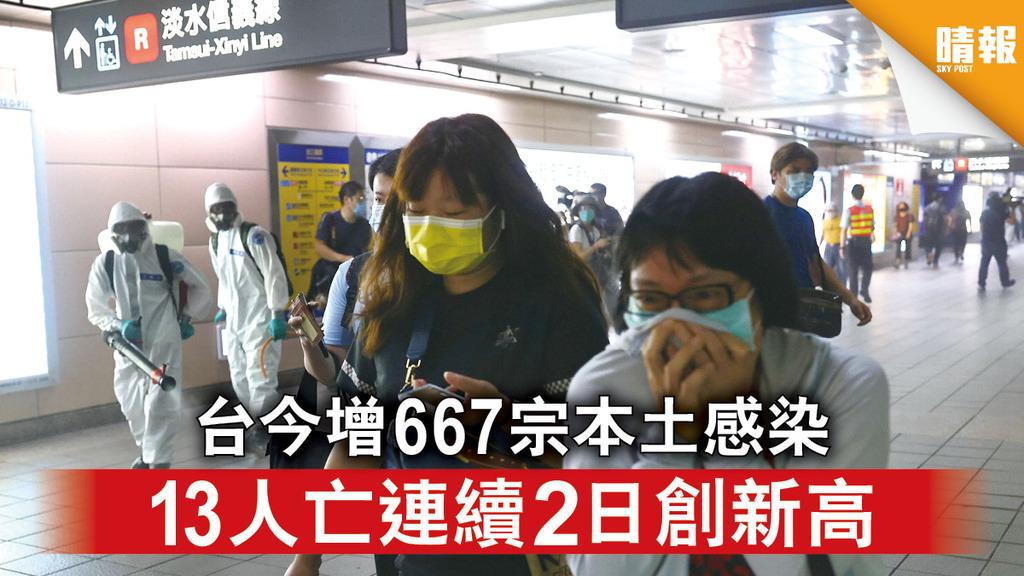 台灣疫情|台今增667宗本土感染 13人亡連續2日創新高