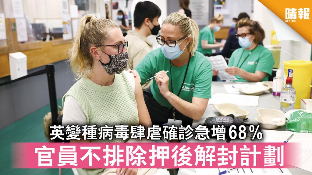 新冠肺炎|英變種病毒肆虐確診急增68% 官員不排除押後解封計劃
