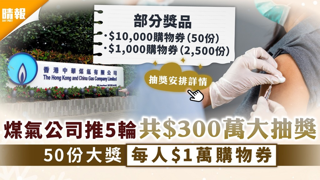 疫苗獎賞|煤氣公司推5輪共$300萬大抽獎 50份大獎每人$1萬購物券