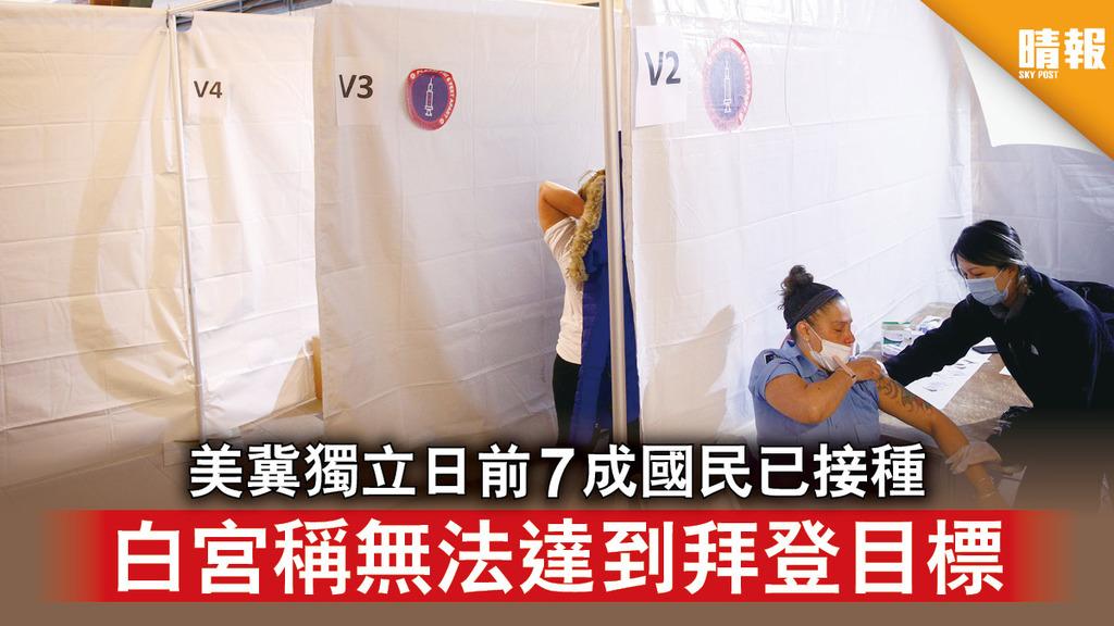 新冠疫苗|美冀獨立日前7成國民已接種 白宮稱無法達到拜登目標