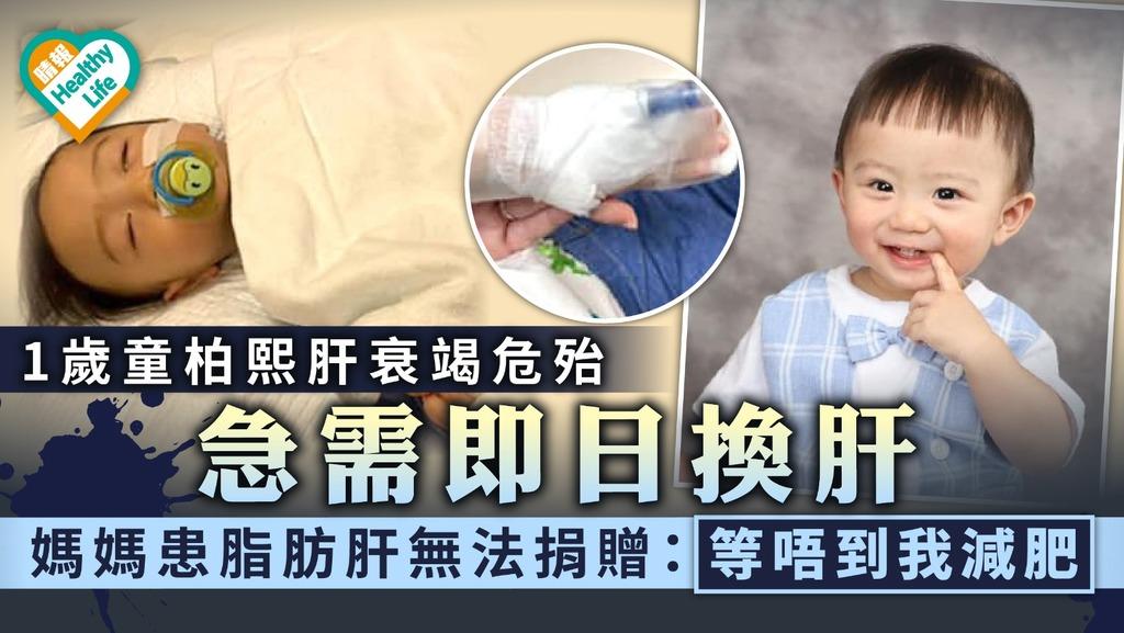 緊急呼籲|1歲童柏熙肝衰竭危殆急需即日換肝 媽媽冀盼善心人捐肝