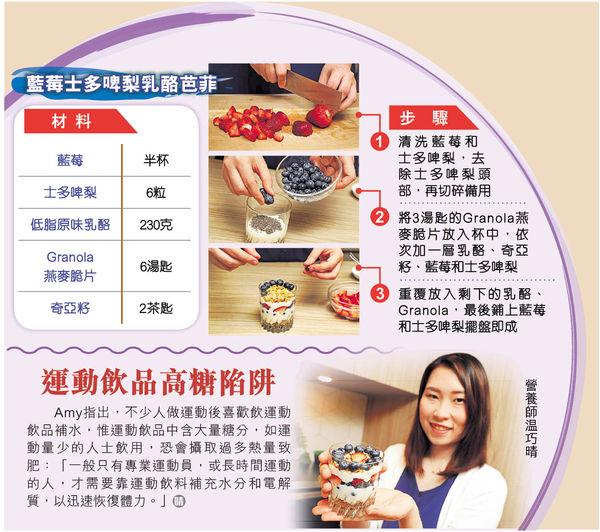 健康又唔肥 藍莓士多啤梨乳酪芭菲高纖低糖
