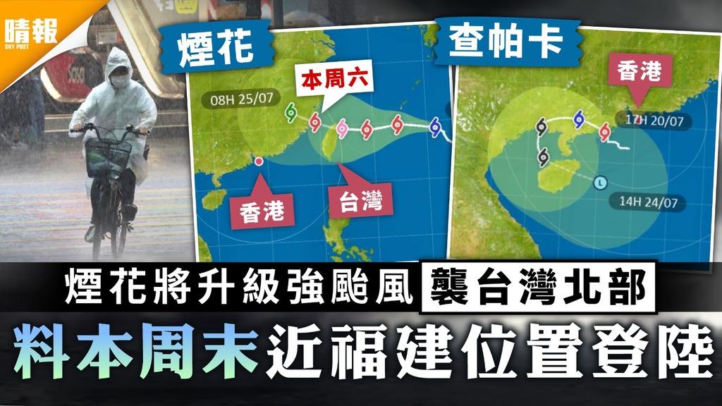 天文台|煙花將升級強颱風襲台灣北部 料本周末近福建位置登陸
