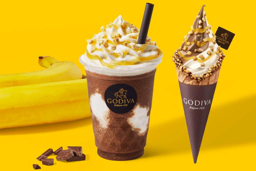 【日本美食2021】日本GODIVA香蕉朱古力奶/軟雪糕新登場 加上香蕉醬/香蕉脆片!