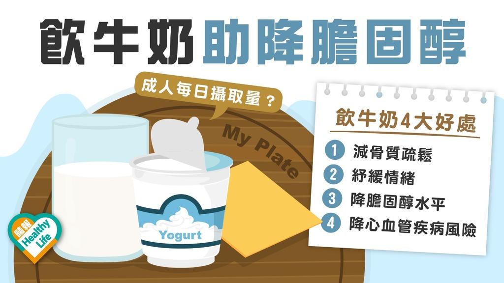 飲食健康 │ 研究指常飲牛奶助降膽固醇 營養師:飲太多恐增磅 每日勿多於3杯