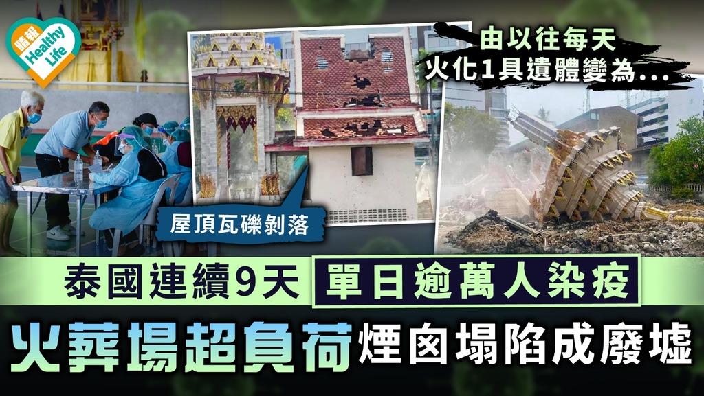 新冠肺炎·泰國疫情 泰國連續9天單日逾萬人染疫 火葬場超負荷煙囪塌陷成廢墟