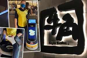 【黃傑龍餐廳】牛角推執枱專員機械人助理 協助員工將餐具自動送到洗碗部