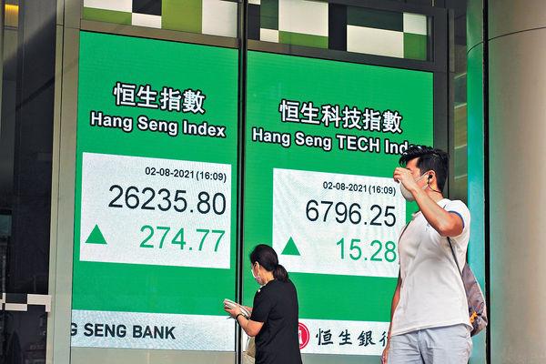 A股帶動由跌轉升 內房領跑 港股8月高開重越26000
