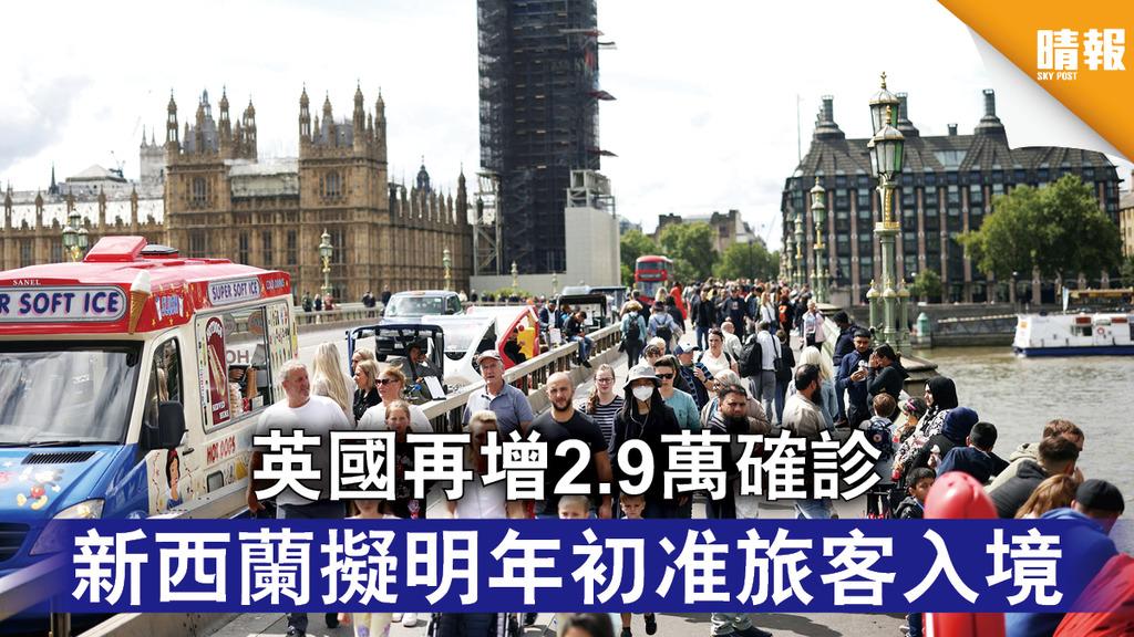 新冠肺炎 英國再增2.9萬確診 新西蘭擬明年初准旅客入境