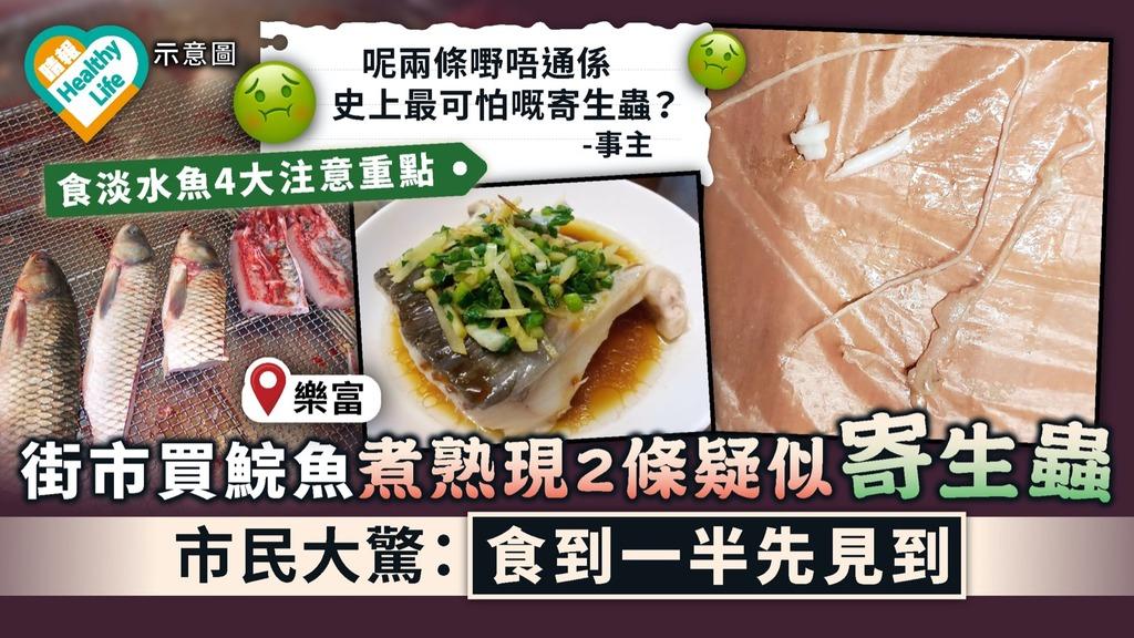 食用安全 街市買鯇魚煮熟現2條疑似寄生蟲 市民大驚:食到一半先見到 附4大食淡水魚貼士
