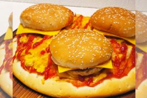 【屯門美食2021】屯門小店新出全港首創「三層牛肉漢堡包菠蘿Pizza」! 網民:一秒激嬲意大利人系列?