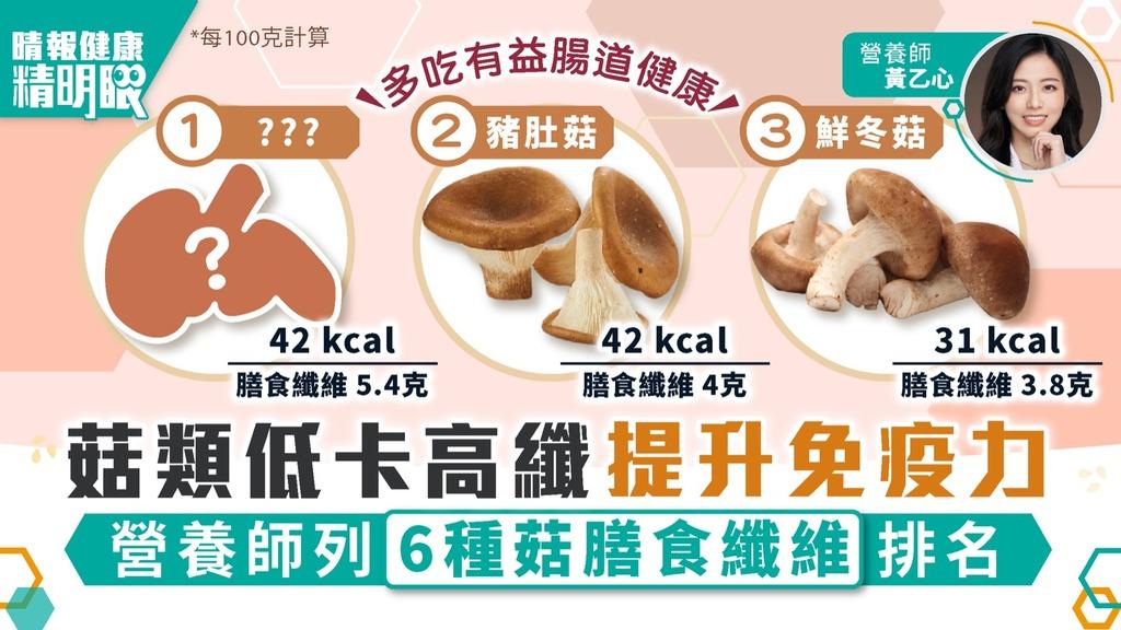 健康精明眼 菇類低卡高纖提升免疫力 營養師列6種菇膳食纖維排名