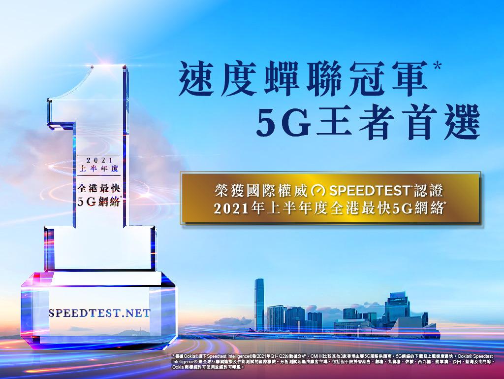 中國移動香港 5G 網絡速度蟬聯冠軍 勇奪 Ookla 2021 上半年度「全港最快 5G 網絡」大獎
