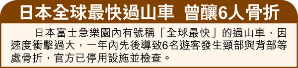 京環球影城過山車 疑保護不足 多名遊客頸椎錯位