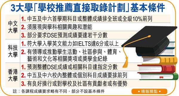 每校限2人 不看DSE成績 中六生獲薦可直入大學