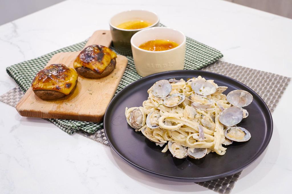 【西式食譜】簡單二人西餐食譜!30分鐘高級西餐味道  焗肉醬大啡菇/忌廉蜆肉意粉/焦糖燉蛋